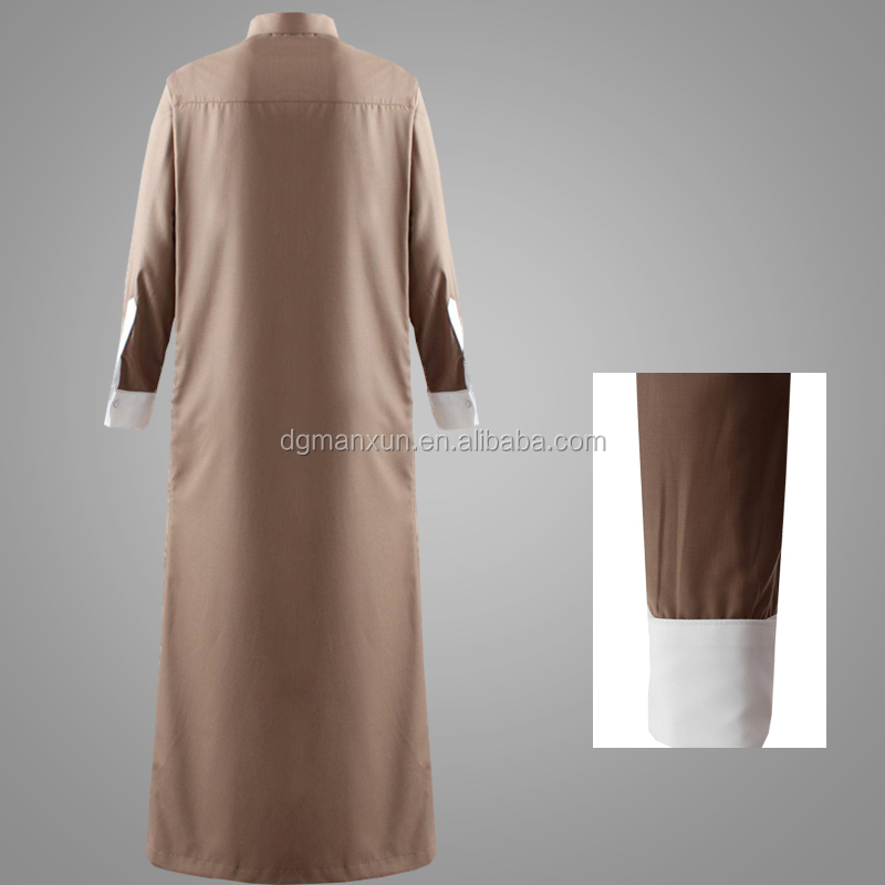 Gentle Style Muslim Men Thobe Full Length Dubai Abaya Invisible Zipper Islamic Men Clothing Wholesale Online
