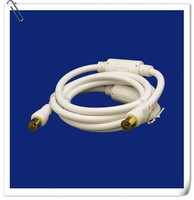 Class A 9.5mm plug to 9.5mm jack straight with ferrite white triplex aerial cable