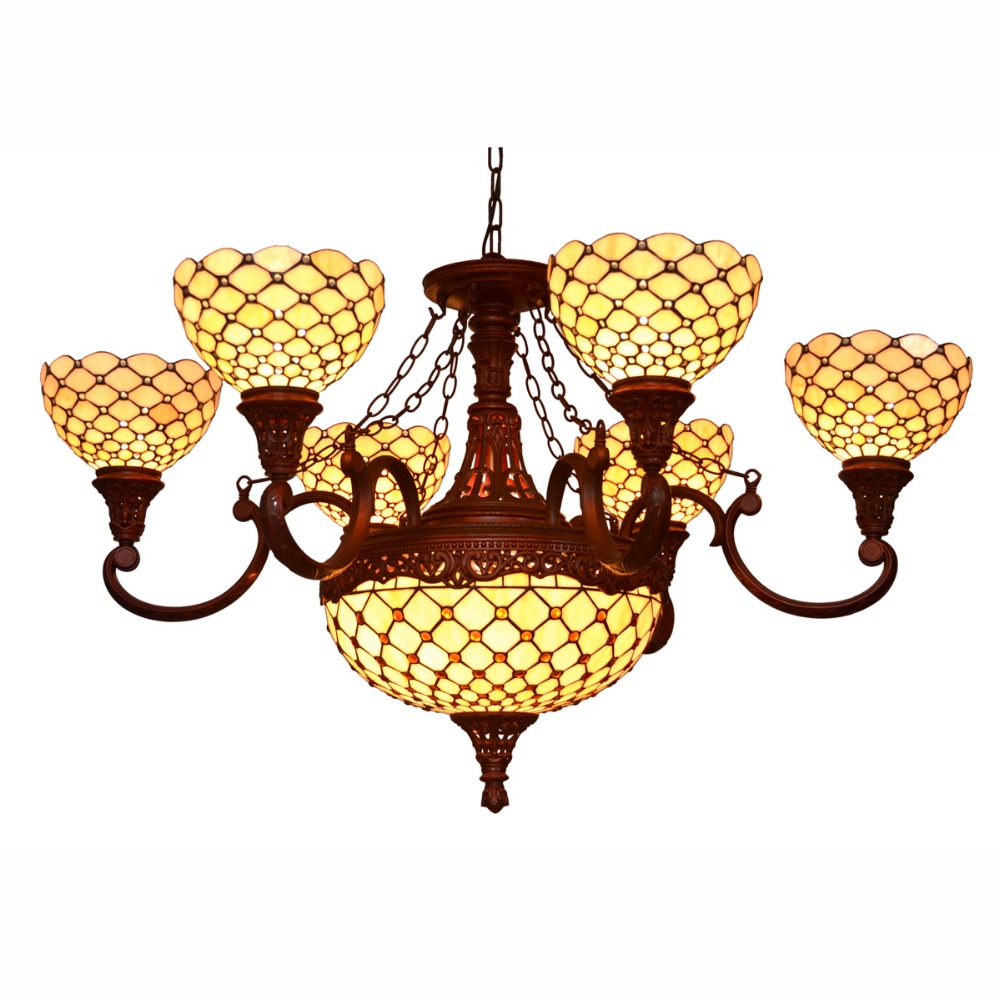 Decorative large chandeliers beads jeweled glass ceiling lamps for restaurant European classical pendant lamps hotel droplights