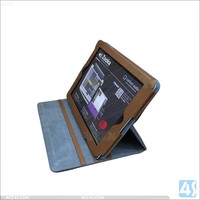 jeans cloth stand leather case for ipad 2/3/4 with card pocket
