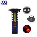 COB LED Magnetic Base Red Light Tool Work light Flashlight with Emergency Hammer Safety Tool
