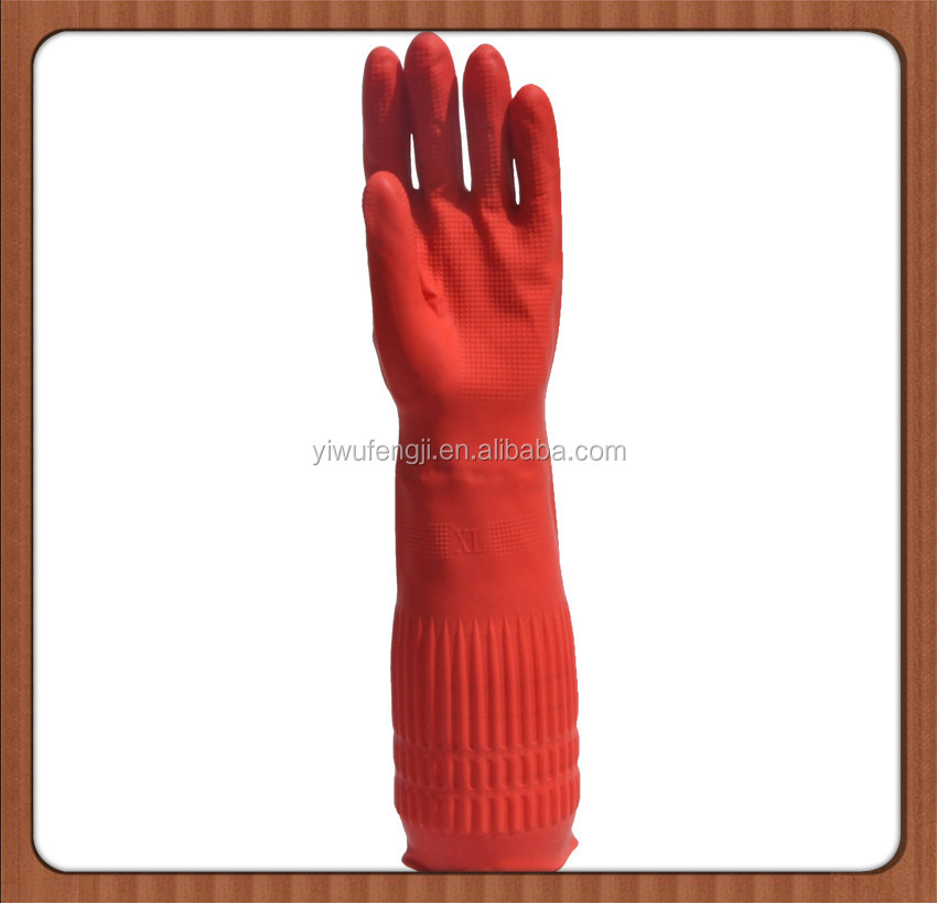 extra long sleeve durable winter gloves cotton lined household latex gloves