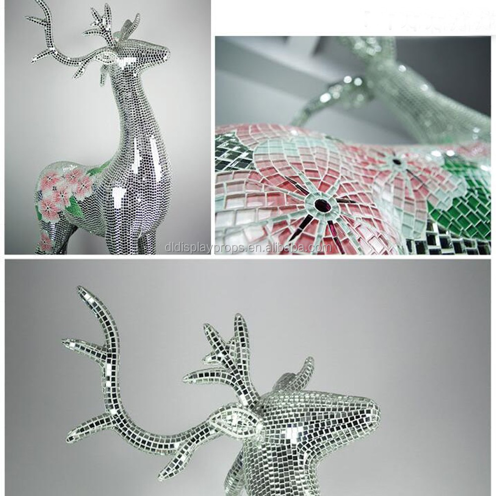 mosaic display tools doll fashion Mannequin outdoor/indoor life size glass fiber deer sculpture deer on display on sale