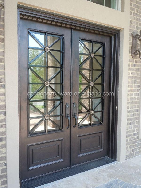 Sen d055 moderne style ext rieur double porte d 39 entr e en for Porte fer forge exterieur