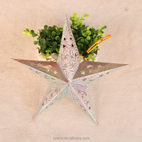 2015 Hottest Christmas Ornament outdoor/indoor Hanging Christmas Decorations Handmade Paper Five-pointed Star