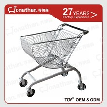 80L easy to use metal shopping cart with wheels for supermarket