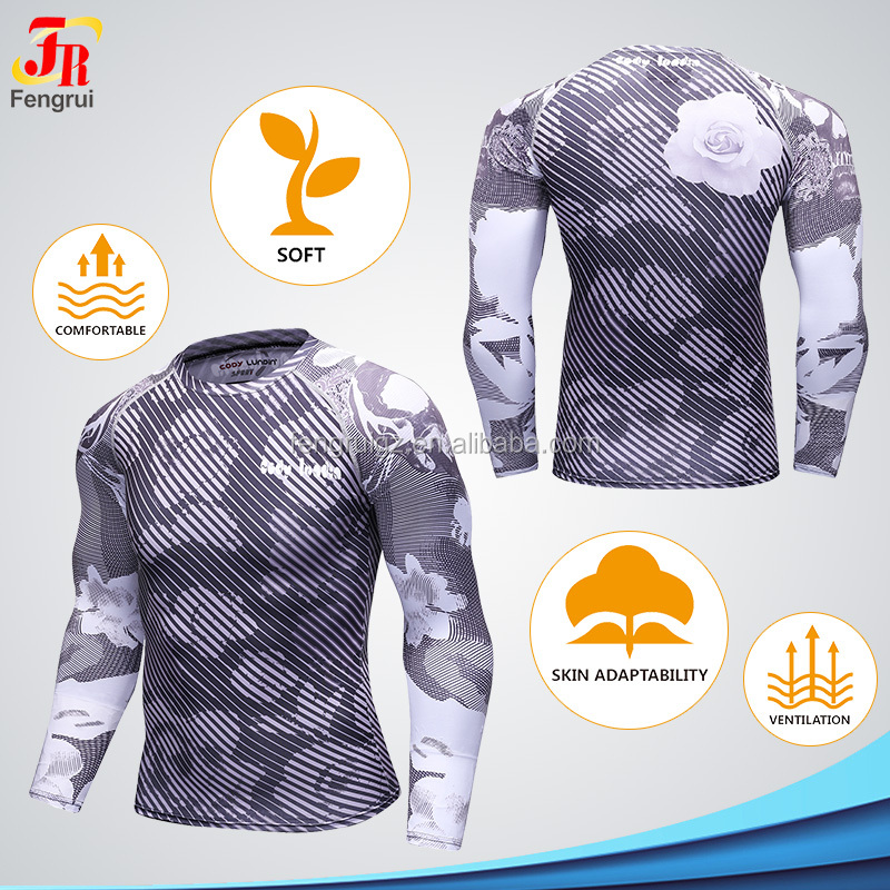 Guangzhou Manufacturer Custom Printing Long Sleeve T Shirt Design Your Own Custom Men's Full Sublimation Tee Tops