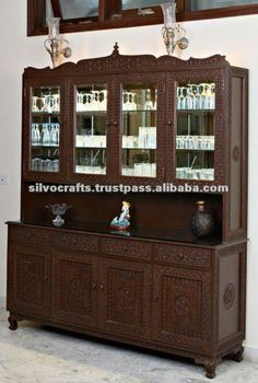 Hand Carved Buffet Cabinet With China Hutch (Carved furniture from India)