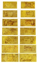 Australian Old Complete Set of 7 Gold Notes 24k Gold Banknote $100 $50 $20 $10 $5 $2 $1 for Collection Value
