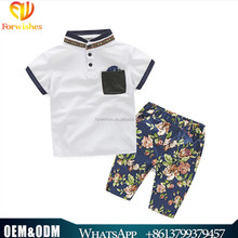 2017 european boy outfits collar shirt matching floral short pants children clothing sets high quality kids boy clothing sets