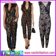 nanbinfashion black lace jumpsuits for women 2015 in big stock