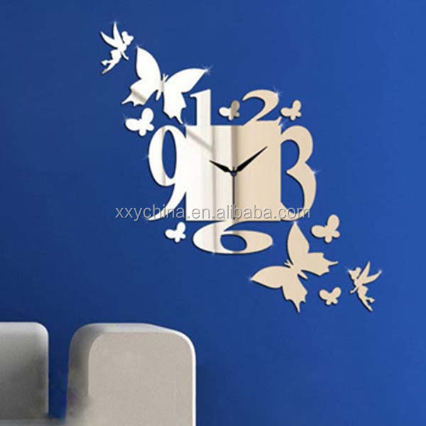 Acrylic self adhesive mirror sticker beautiful shape mirror clock (B0448)