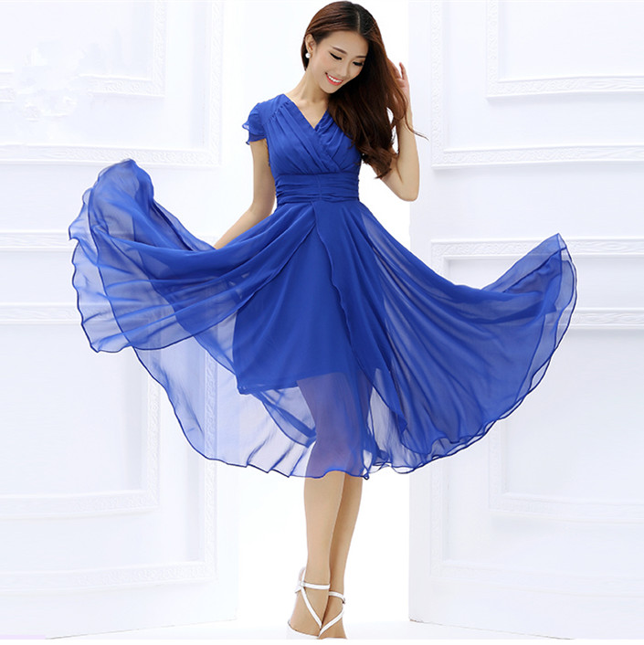 Summer Women Dress 2015 Fashion Casual Maxi Sexy Womens Party Dresses Chiffon Women Long Dress Slim Tunic S-XXXL A02