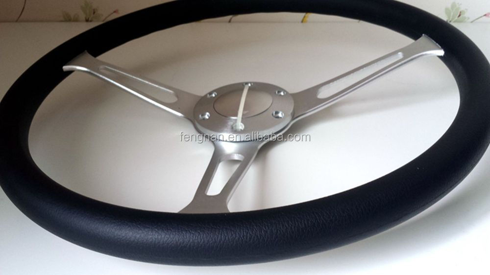 15 inch 38cm vintage classic genuine full leather rim auto steering wheel with horn button-EN STOCK