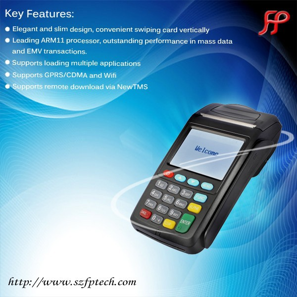 handheld Linux OS pos terminal with touch screen and printer for supermarket
