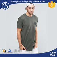 China Factory Hongxiong 180 Grams Short Sleeve O Neck Cotton Grey Patch Men Wholesale T-Shirt Printing For Resellers