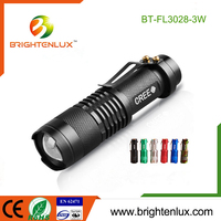 Factory Supply Mini High Power Pocket Size Aluminum Cree led Focus Smallest Flashlight Torch Light with 1*aa battery
