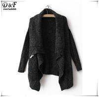 2015 Autumn/Winter New Fashion Design Cool Black Long Sleeve Knitwear Korean Crop Cute Oversize Knitted Casual Cardigan Sweater