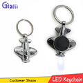 Aircraft shape Zinc alloy led key ring Zinc alloy keychain with light for Promotional