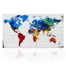 Colorful World Map On Brick Canvas Wall Picture 1 Piece Map of the World Art Painting Home Decor Ready to Hang/VA170816-7