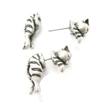 2016 New Adorable Kitty Cat Aniaml Themed Two Parts Women Stud Earring in Bronze and Anique Silver