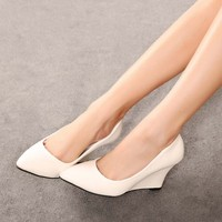 SAA4355 Wholesale women shoes fashion pointed toe ladies wedge shoes