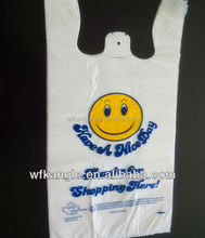 discount biodegradable printing T-shirt plastic shopping bag foldable