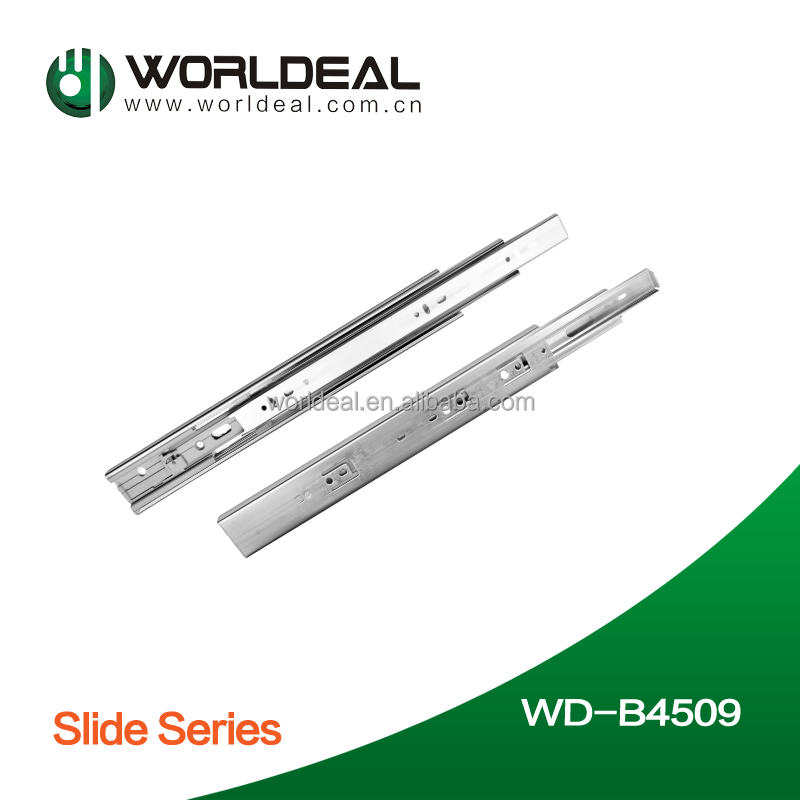 Kitchen cabinet hardware ball bearing drawer slide with soft closing system