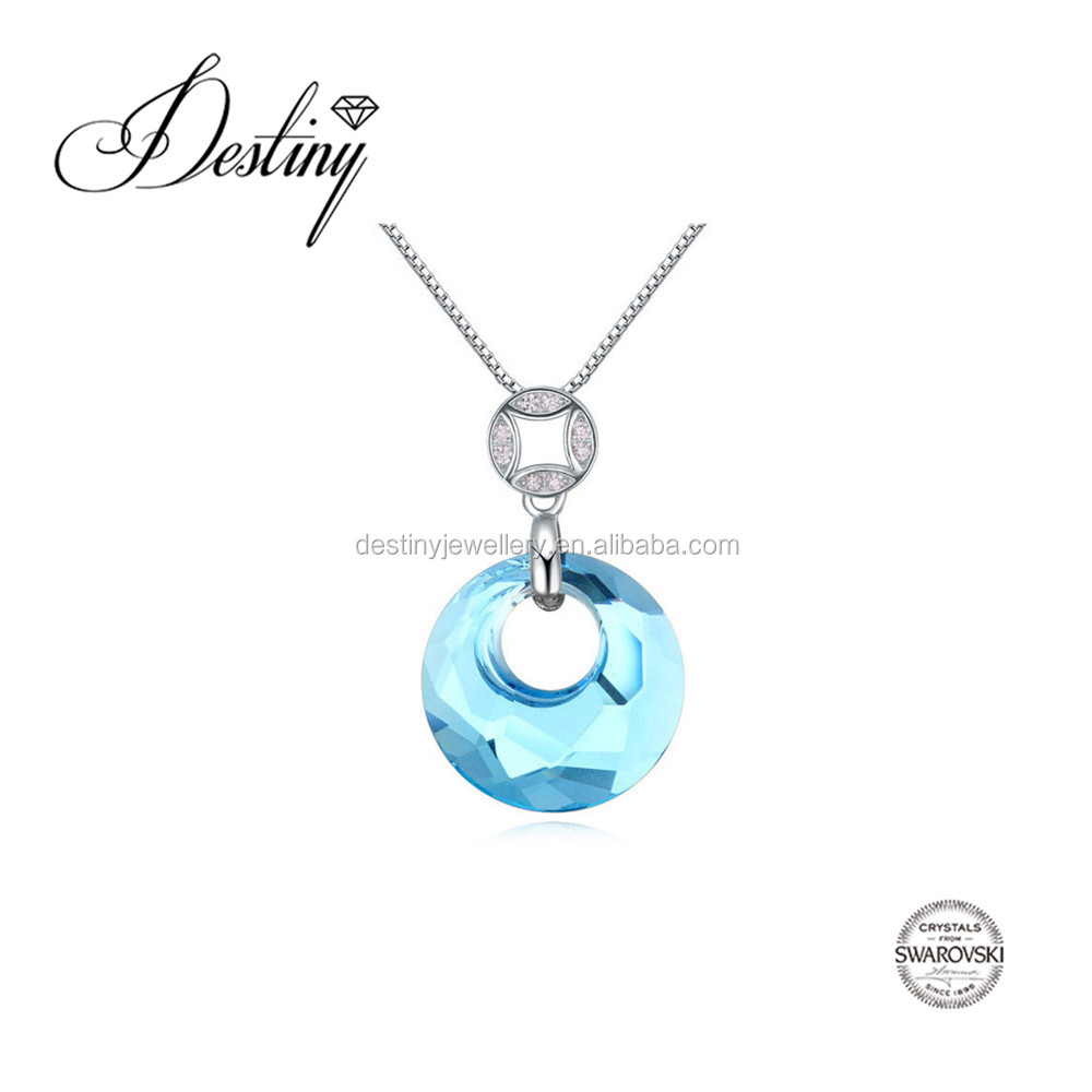 Destiny Jewellery blue circle pendant Factory direct sale wholesale price Embellished with crystals from Swarovski
