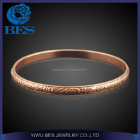 Flower Pattern Engraved Simple Rose Gold Kara Bangle Designs for Girls