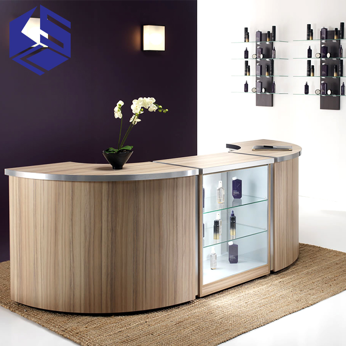 Top selling salon display beauty salon counter design hair salon display counter