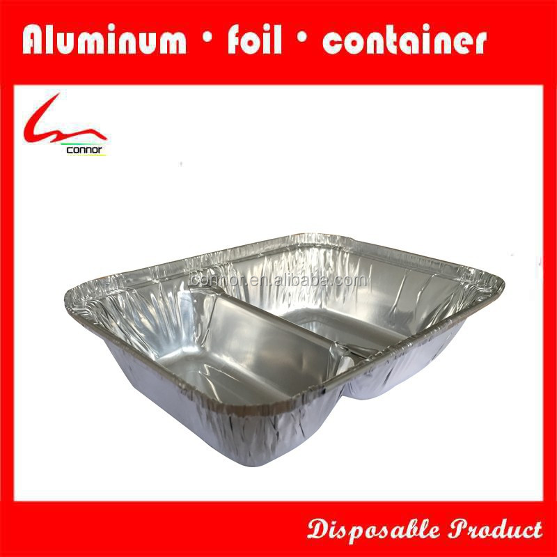 For Food Delivery 2 Compartment Oblong Aluminium Foil Container