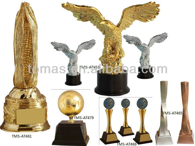 Metal soccer ball gold plated award trophy