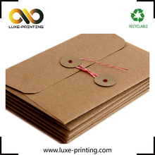 Handmade customized hot stamping kraft envelope with string tie