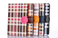 Multi-color grid pattern leather wallet case with card slots for ipad air, ipad mini