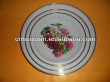 "12""plastic round flat printing dish with metal ring"