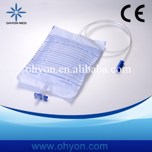 OHYON good quality economic plastic urine bag with T-tap valve