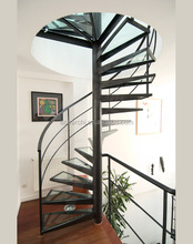 Factory wholesale indoor / outdoor used metal deck stairs for spiral staircase with stainless railing