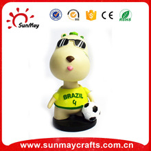 Wholesale custom resin cartoon brazil souvenirs football bobble head for sale