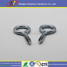 Silver Color Zinc Plated Metal Cup Hooks Round End Screw Hooks Self-tapping Screws Hooks