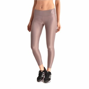 Moshiner Leggings Polyester Spandex Seamless Gloss Pants Sexy PU Leather Leggings for Women