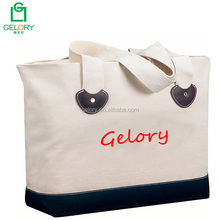 Customized Two tone colors heavy canvas tote bag with zipper closure