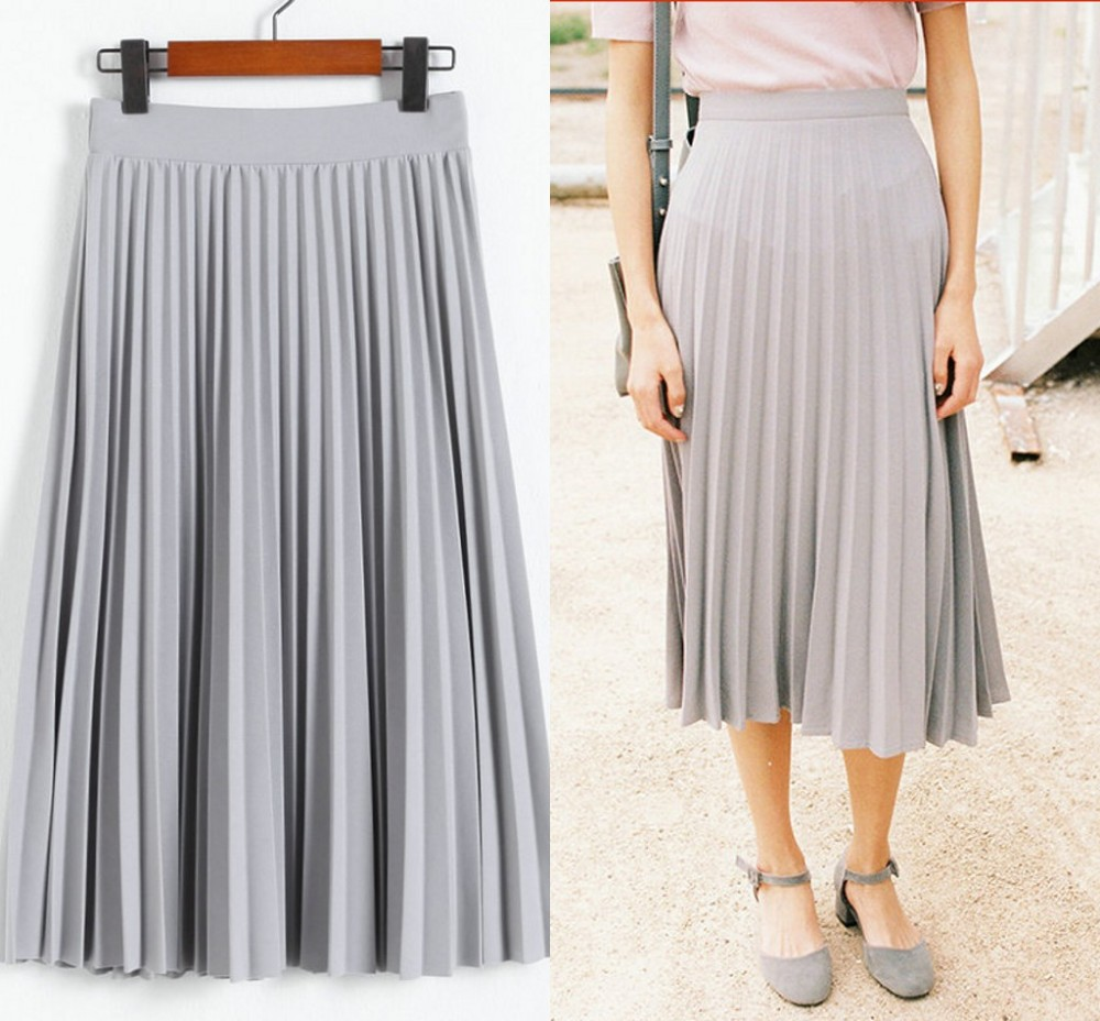 Gartment factory 2017 newest fashion designer ladies long skirt, wholesale maxi pleated chiffon skirt