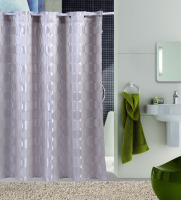 Home & hotel use luxury polyester jacquard fabric hookless shower curtain