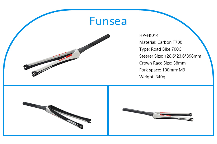 Funsea customized painting black and white Lightweight T700 carbon fork bicycle parts for racing road bike HP-FK014