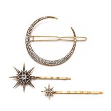 3Pcs /Set Vintage Gold Metal Star Moon Rhinestones Hair Clip for Women Hairpins Hair Accessories