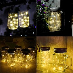 Colored Decorative Led Christmas String Lights Mason Jar With Fireflies