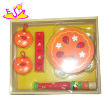 new children wooden musical instrument,cheap hot selling wooden toy drum set W07A033-S
