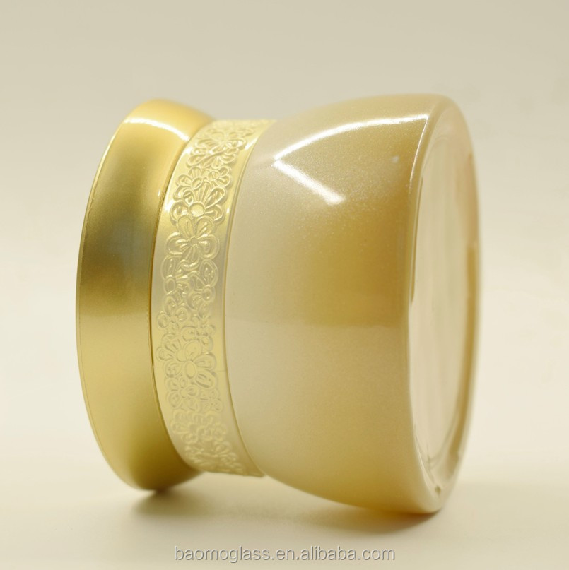 Hotsale Gold 30ml 50ml luxury cosmetic glass jar for cream