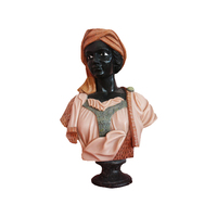 house decoration hand carved black natural marble bust figure head sculpture of african women BSL-104